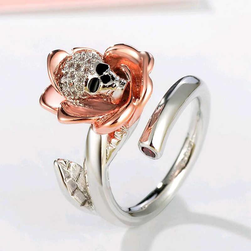 ERLUER Österreichischen Gothic schädel Rose Silber Farbe Ringe Für Frauen Mädchen Mode Engagement Shiny Kristall CZ Schmuck Trendy Liebe Geschenk