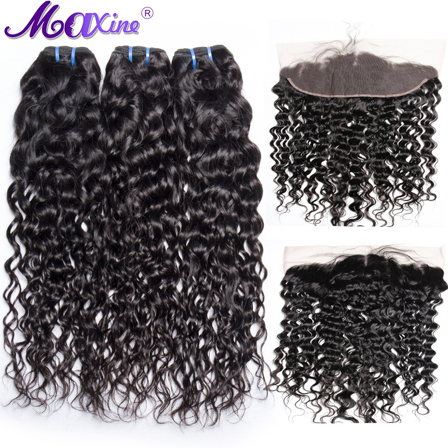 Maxine Water Wave 3 Bundles With Frontal Closure Non Remy Human Hair Weave Pre Plucked Lace