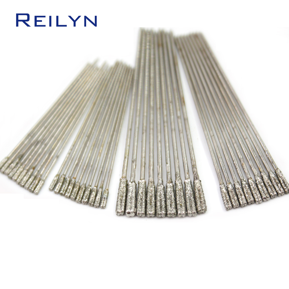 Reilyn Emergy Diamond Grinding Burr Jade Drilling Bits Stone Pearl Drilling Tips For Hanging Mill Dremel Rotary Tools Xx002