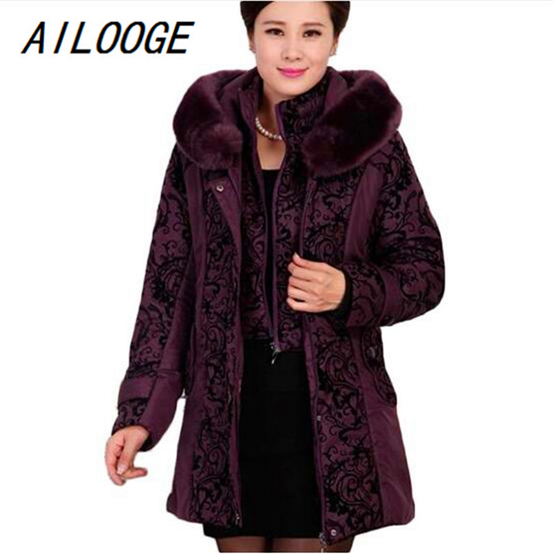 AILOOGE 2017 New Middle-aged Winter Jacket Women Thicken Warm Cotton-padded Slim Plus Size Fur Collar Winter Coat Women Parka