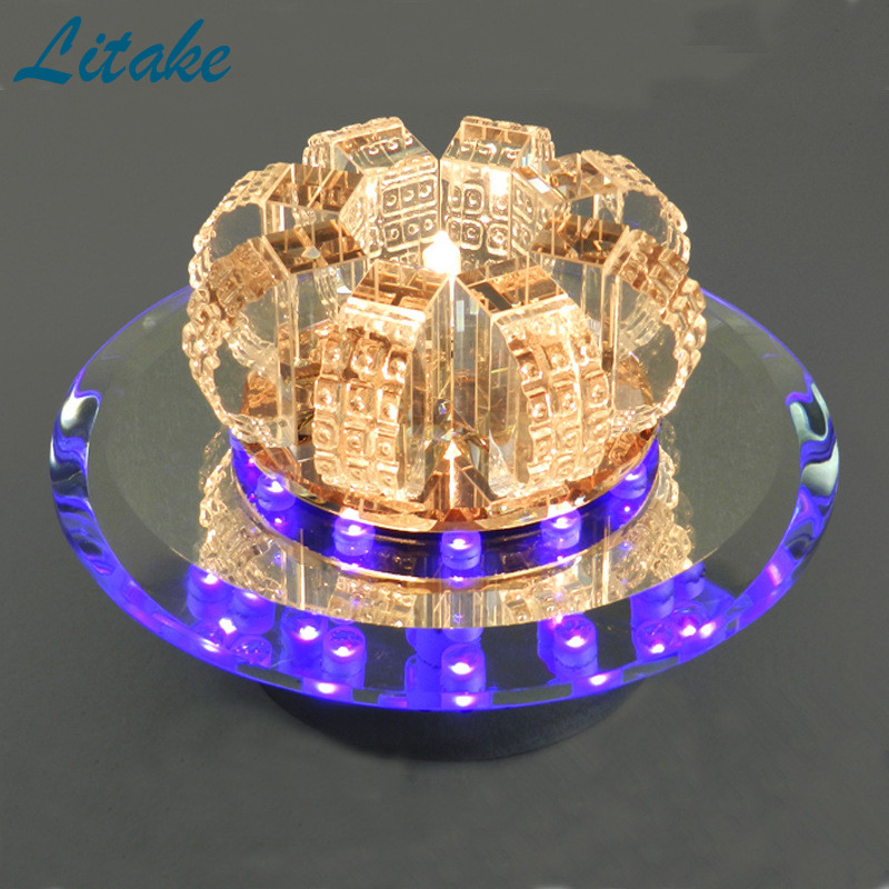 все цены на Litake Modern Crystal Chandelier Round Ceiling Lamp for Bedroom, Bathroom, Dining Room(White Light, Warm White Light)
