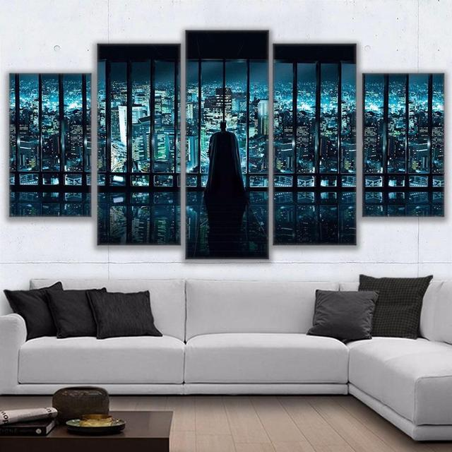 Hd print 5pcs batman and gotham city canvas wall art painting poster modern home decor living