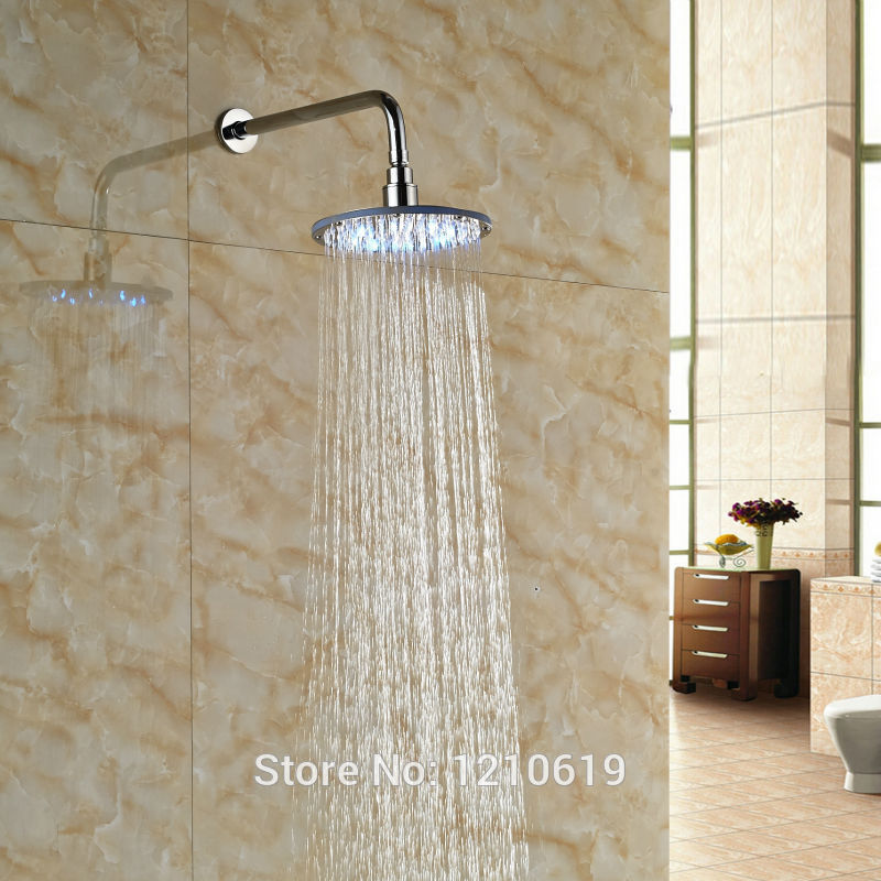 Newly Color Changing LED Bathroom Shower Head w/ Shower Arm Chrome Plate 8 Rain Top Shower Sprayer Wall-mount 8 square led color changing shower head wall mount bathroom top head brass shower arm