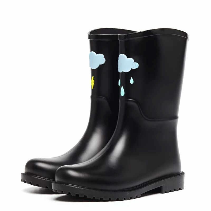 6e1cff124 ... Rouroliu/женские непромокаемые сапоги ручной работы, непромокаемая  обувь, женские резиновые сапоги с милым ...