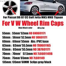цена на Car Wheel Center Hub Caps For Passat B6 B7 CC Golf MK5 MK6 Tiguan 4PCS Auto emblem Original Covers 55MM 60MM 63MM 65MM 70MM 76MM