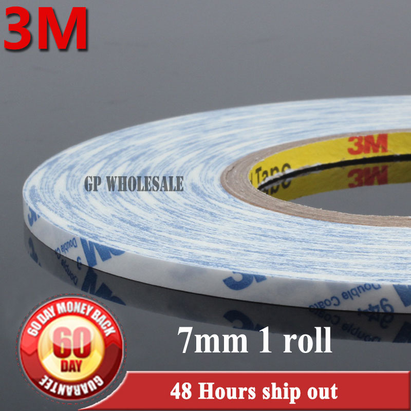 7mm*50M 3M 9448A Adhesive White Sticker Tape for Samsung, HTC Android phone Tablet Mp5 Display Touch Screen Panel Cable Lens Fix 6mm 50m 3m double sided adhesive brand tape for apple samsung htc tablet touch dispaly screen rubber repair 9448a white