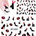 1 листов 3D Дизайн Элегантные Высокие Каблуки Красные Губы DIY Nail Art Воды Наклейка Передача Наклейка Маникюр Советы для Ногтей Поставок # XF1231
