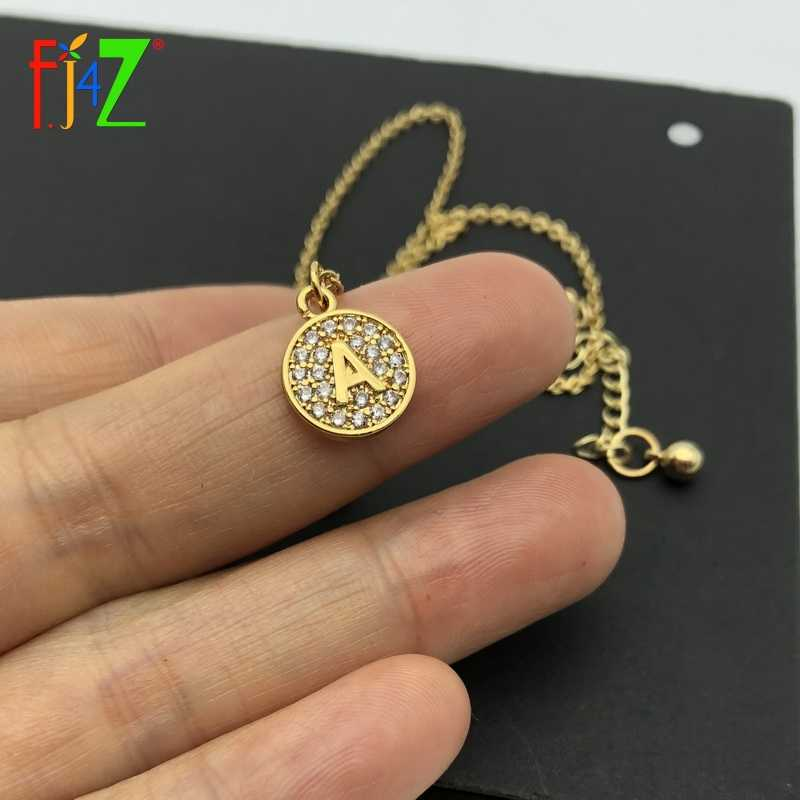 F.J4Z New Hot Alphabet Pendants Golden Copper Mini 26 Letters Necklaces Sparkling Zircon Crystal Coin Initial collares