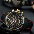 Мужские спортивные кварцевые часы Megir  водонепроницаемые силиконовые часы с секундомером  светящиеся армейские часы  часы 2045-1N3