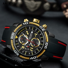 Megir Mens Sports Chronograph Quartz Wrist Watches Waterproof Silicone Army Racing Luminous Clock Relojios Masculinos 2045 1N3