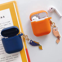 Protective Case for AirPods 2 Koi Fish Astronaut Lovely Key Chain Bluetooth Wireless Earphone Silicone Bag for Airpods  Cases