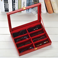 8 Slot Cuadrícula de cuero Caja de caja de exhibición de los Sunglass Gafas gafas de Sol Gafas Accesorios gafas de lectura caja de Almacenamiento Bandeja de Ho