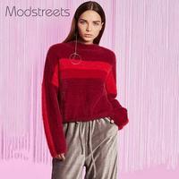 נשים בורדו Modstreets סריגי חורף סתיו סוודר אנגורה רך צבע בלוק סוודרי צוואר O סוודרי סריגה שרוול מלא