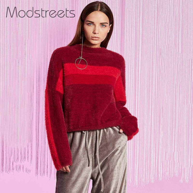 Modstreets Burgundy Women Knitwear Winter Autumn Soft Mohair Sweater Color Block O Neck Pullovers Full Sleeve Knitting Sweaters