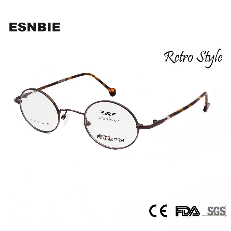 890ce8578 ESNBIE Óculos Homens Do Vintage Redonda Pequena de Metal Armações de Óculos  de Olho para As