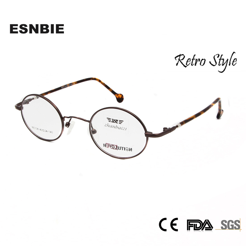 2c33a7a62f1 ESNBIE Vintage Eyeglasses Men Small Round Metal Eye Glasses Frames for Women  Optical Glass Prescription Eyewear Oculos de grau