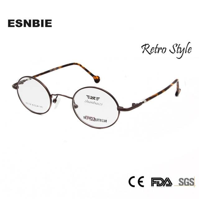 5bb82220e509d ESNBIE Óculos Homens Do Vintage Redonda Pequena de Metal Armações de Óculos  de Olho para As