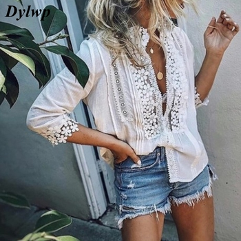 S-5XL Plus Size Women Blouse Long Sleeve Lace Hollow Tops Summer 2019 Ladies Casual Solid Patchwork Loose V-Neck Boho Shirt summer v neck long sleeve blouse women casual v neck solid color tops loose button blouse shirt