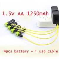 60% OFF 4 PCS 1.5 V AA bateria recarregável de polímero de lítio Lipo ZNTER celular 1250 mAh + 1 pcs USB celular cabo para câmera brinquedos