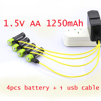 60%OFF 4PCS 1.5V AA rechargeable battery Lipo lithium polymer ZNTER cell 1250mAh + 1pcs USB cable cell for camera toys