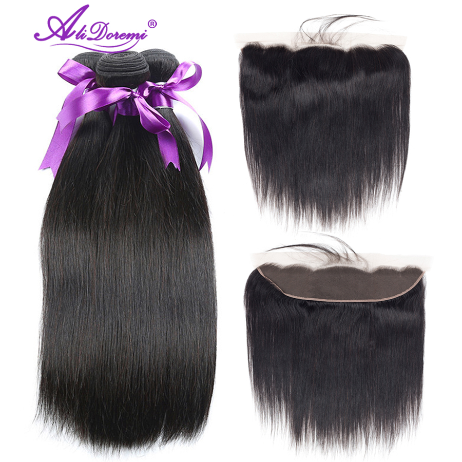 Alidoremi Ear to Ear Brazilian straight hair 4 Bundles With Lace Frontal closure Non remy Natural