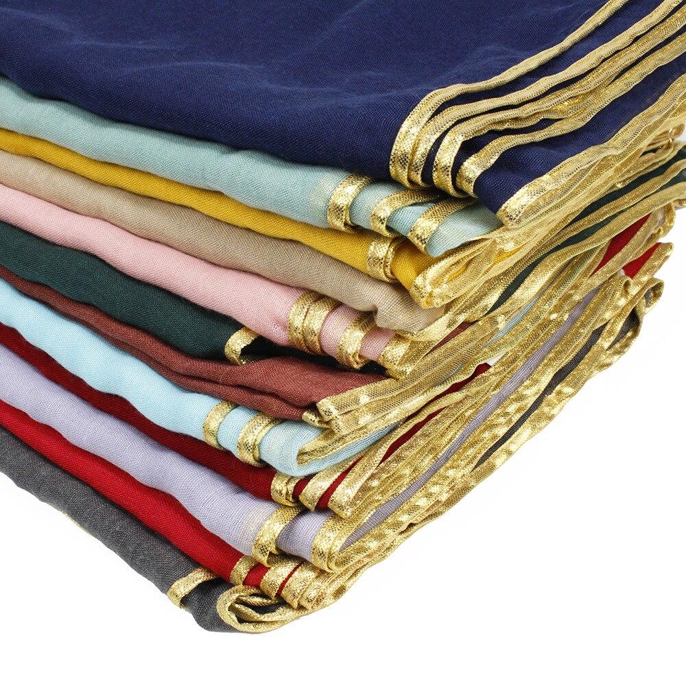 Women's Print Plain Cotton Viscose Gold Chain Shawl Scarf Solid Pashmina Hijab Winter Headband Wrap Muslim Muffler Foulard Sjaal