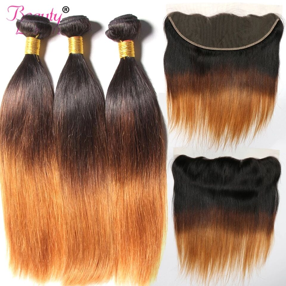 Ombre Brazilian Straight Hair Bundles With 13 4 Frontal Closure T1B 4 30 27 3 Tone