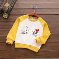 kids t-shirt long sleeved embroidery cartoon sweatshirt cotton terry baby clothes wholesale