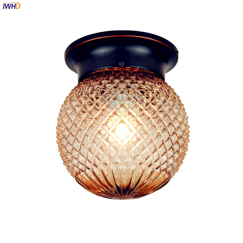 IWHD Glass Retro Vintage Ceiling Light Fixtures Hallway Balcony Porch Glass Ball Home Lighting LED Ceiling Lamp Plafondlamp цена
