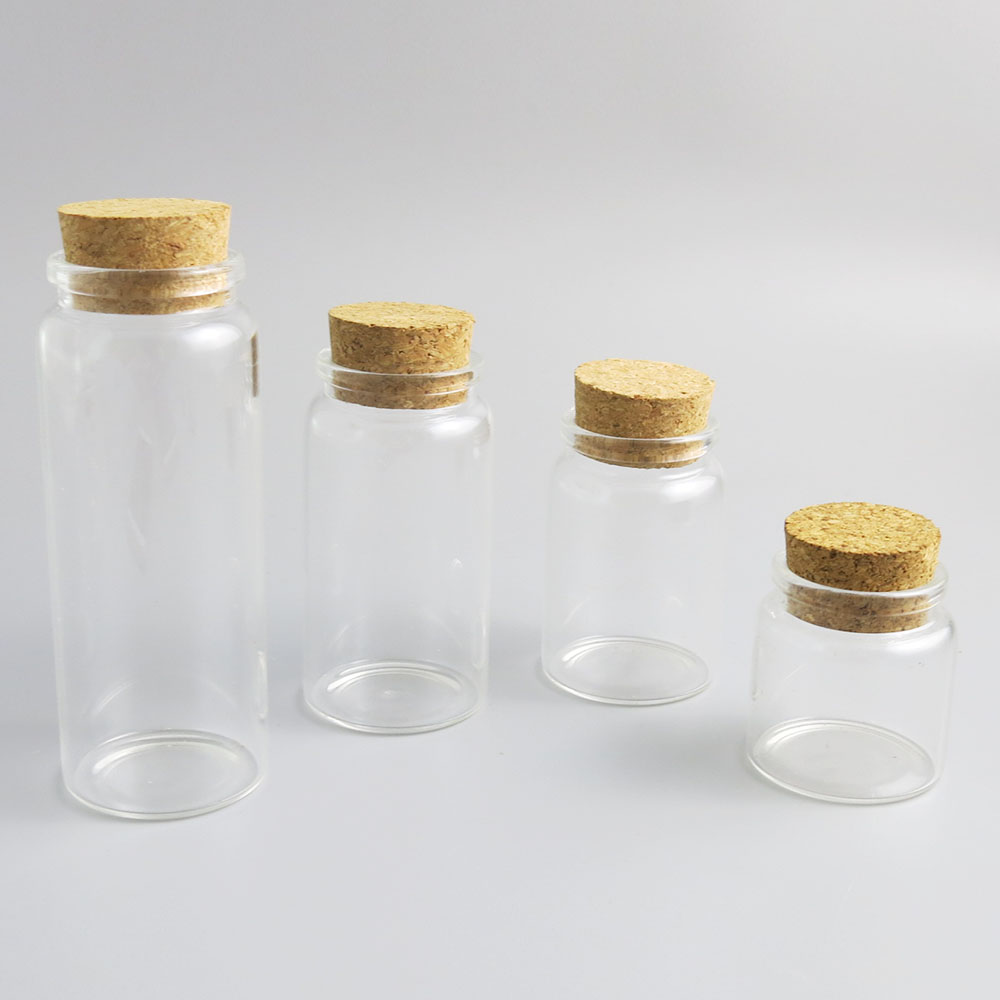 24 X 50ml 80ml 100ml 150ml Clear Glass Bottles With Wood Cork  5oz Transparent Large Display Container For Candy Storage Bottle
