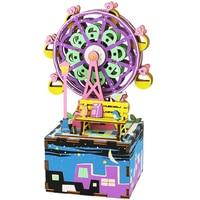 Surwish Ferris Wheel Theme Shape 3D Puzzle Building Blocks DIY Music Box Stem Toys for Home Decoraction Sets