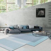 Unique shaped post modern living room decoration carpet Nordic style big size hotel rug, INS blue geometric villa rug