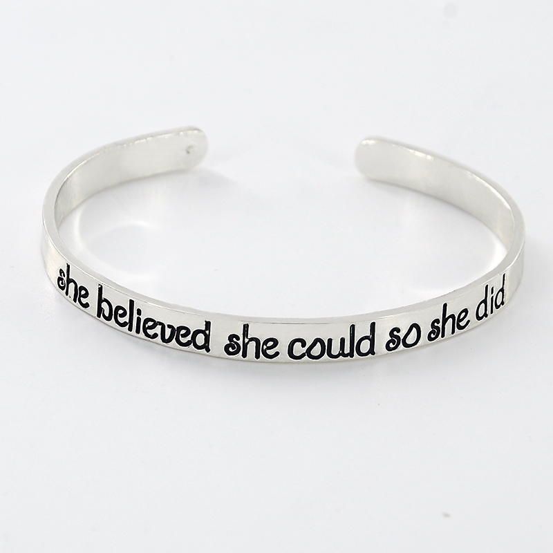 New Fashion silver color Engraved Cuff Bangle Personalized Words Quote Name bangles bracelets SL-381