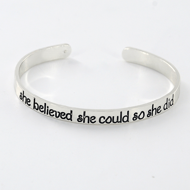 New Fashion Silver Color Engraved Cuff Bangle Personalized Words Quote Name Bangles Bracelets Sl 381