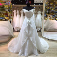 Zuhair Murad Detachable Wedding Dress With Lace Shor Sleeves Fitted Sweetheart Applique Winter Bridal Gowns Vintage