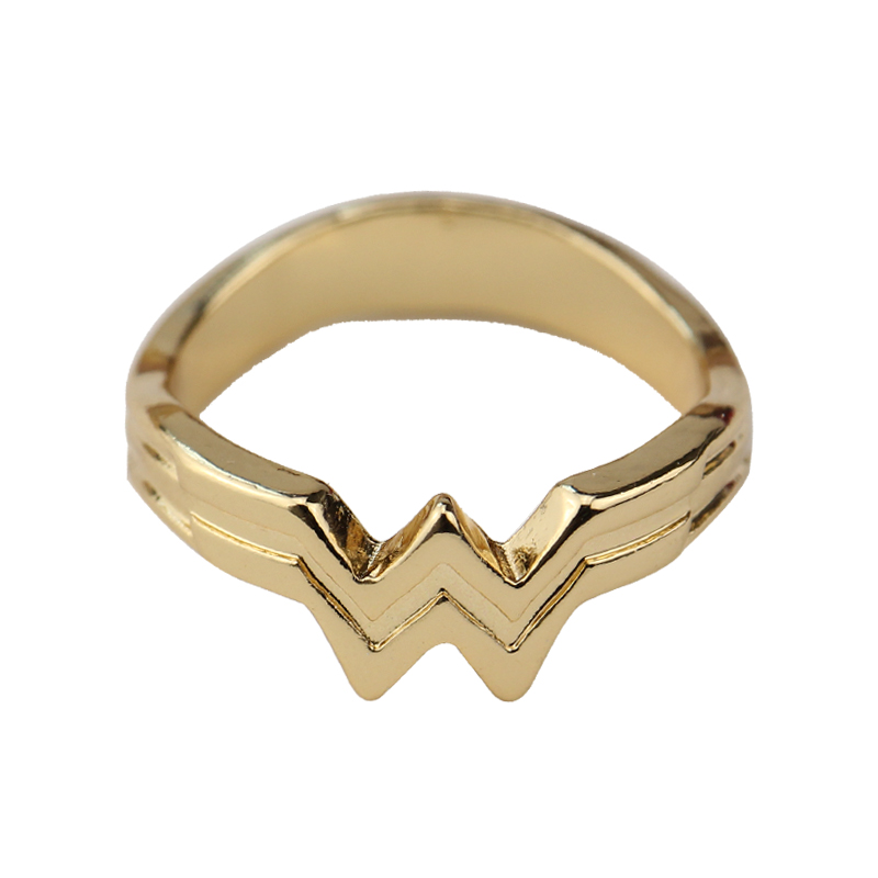Wonder Woman Stacking Ring,Super Hero 3D Wonder Woman Logo Geeky Engaged Ring,Girl Power Diana Prince Ring Movie Cosplay Jewelry