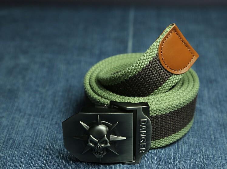 Fashion men's Canvas belt skull Metal tactics woven belt canvas belt Casual pants Cool wild gift for men belts Skull large size 5