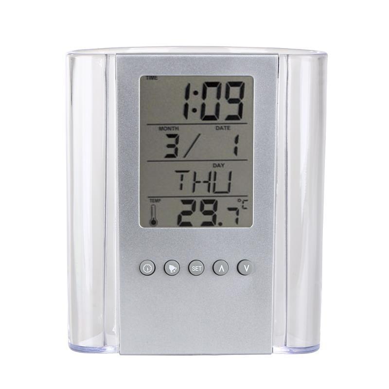 Transparent Electronic Pen Holder Container Lcd Digital Alarm Clock Desk Pencil Holder Organizer Thermometer Calendar For Fami