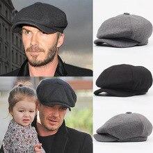 Wełna ośmioboczna czapka gazeciarz Beret kapelusz dla mężczyzn mężczyzna tata bluszcz czapki Golf jazdy płaskie Cabbie płaskie czapki jesień zima peaky blinders