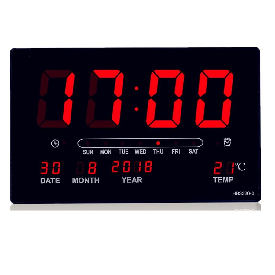 Big number alarm clock Electronic LED calendar hanging clock with week display, Table digital thermometer alarm clock