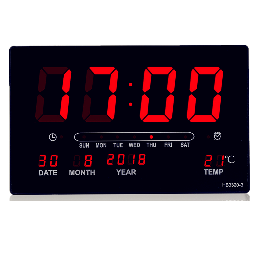 Big number alarm clock Electronic LED calendar hanging clock with week display, Table digital thermometer alarm clock