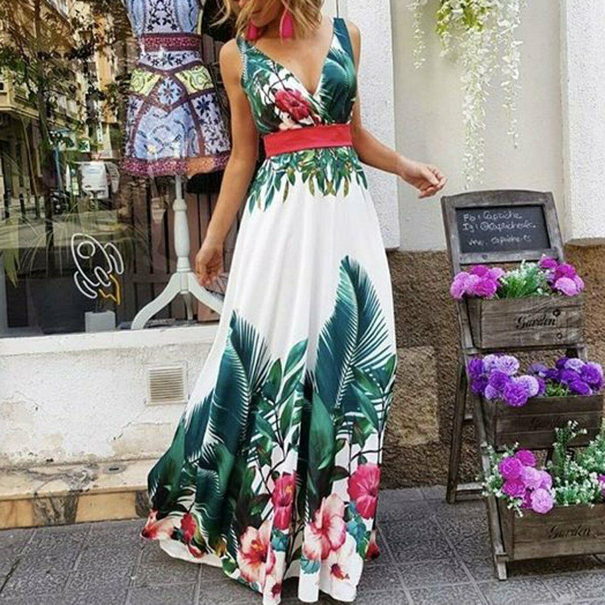 Summer Women Boho Floral Printed Dresses Fashion Ladies Sleeveless Party Evening Long Maxi Dress 2019 Suspenders V-neck Dresses