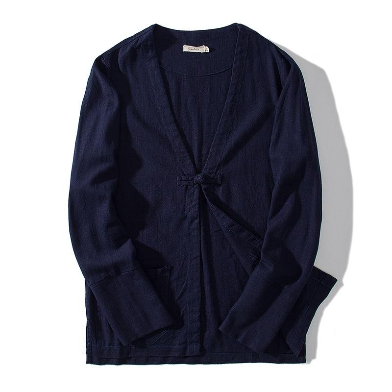 Hommes Linge Vestes Lâche Coton Mince Casual Frais Fit Slim 2018 Lin Noir Mode Blazers kaki Bleu Veste Chinois Style cou V Vêtements Automne marine q0w7z