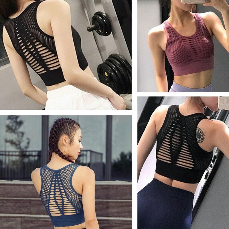 SEXYWG Top Women Seamless Sports Bra Running Yoga Brassiere Workout Gym Fitness Sport Bra High Impact Padded Underwear Vest Tank (13)