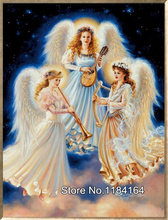 5D Diy Diamond mosaic full diamond embroidery angel playing music cross stitch crystal square diamond sets BK-489
