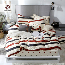 ParkShin Stripe Bedspread Geometry Pattern Bedding Set Bed Fitted Sheet On Elastic Band Rubber Duvet Cover Pillowcase