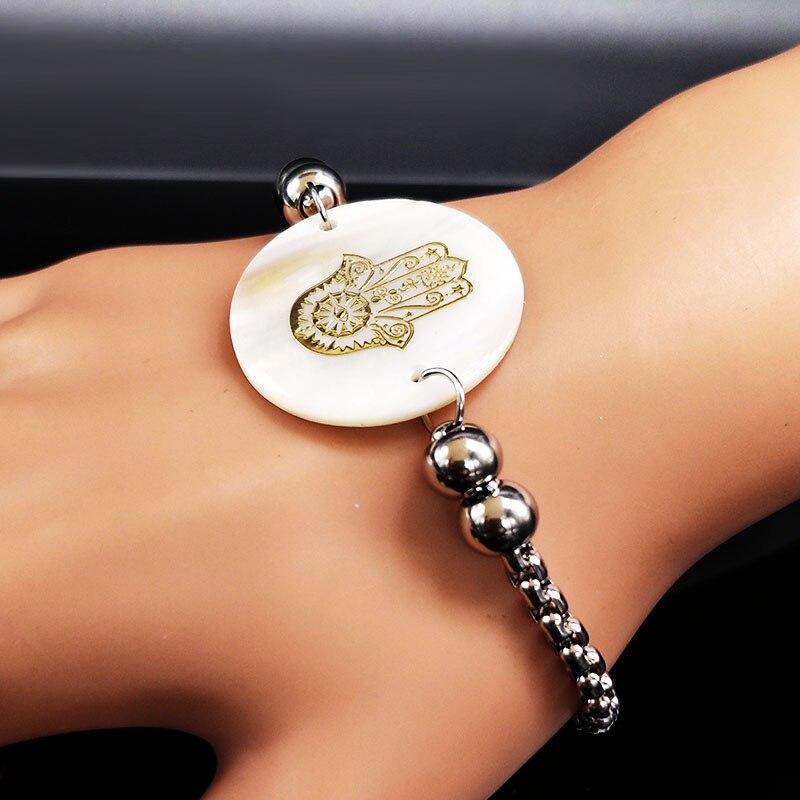 2019 Islam Hamsa Hand Shell Stainless Steel Charm Bracelet Women Gold Color Bracelets Jewelry brazaletes pulseras mujer B18125