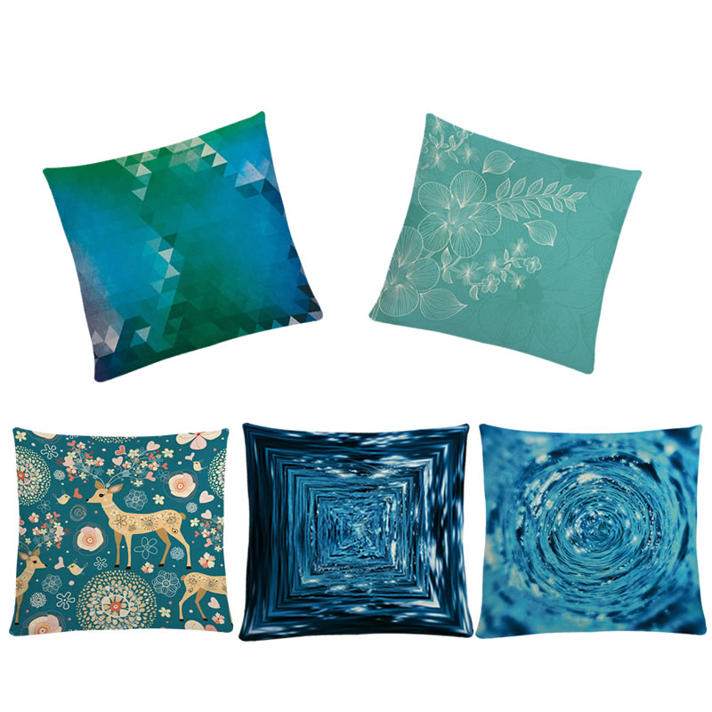 45*45cm Blue Cushion Cover Artistic Flower Deer Geometric Printed Pillow Case For Home Bed Sofa Car Seat Decoration