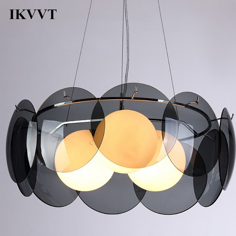 IKVVT Modern Lustre LED Glass Pendant Lights Hanging Lamp Restaurant Living Room Bedroom Dining Room Light Fixtures 3 Colors chinese style classical wooden sheepskin pendant light living room lights bedroom lamp restaurant lamp restaurant lights