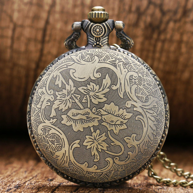 Fashio Cool Bronze 3D Chinese Dragon Design Quartz Fob Pocket Watch Gift To Boys Men Children